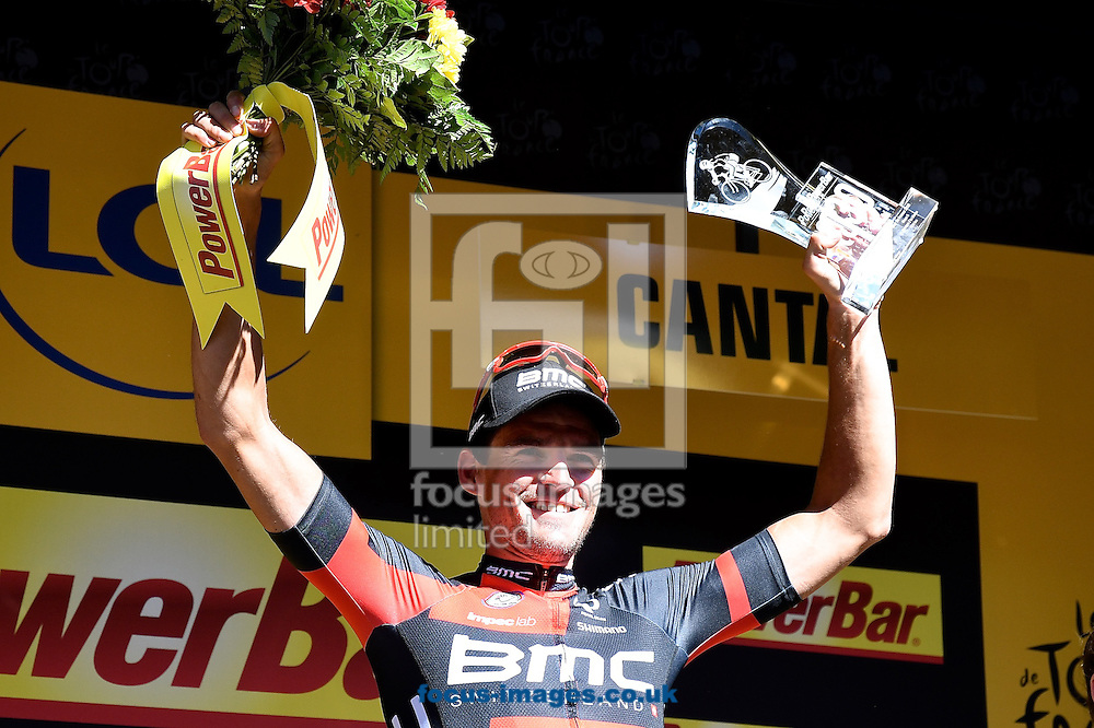 Greg Van Avermaet of Team BMC celebrates winning stage 5 of the Tour de France at La Lioran, France.<br /> Picture by Focus Images/Focus Images Ltd 07814 482222<br /> 06/07/2016