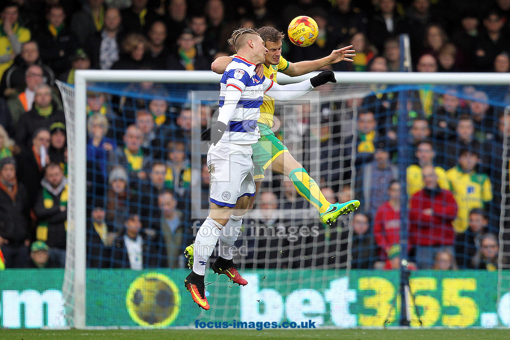 Sebastian Polter of Queens Park Rangers and Ryan Bennett of Norwich in action during the Sky Bet Championship match at the Loftus Road Stadium, London<br /> Picture by Paul Chesterton/Focus Images Ltd +44 7904 640267<br /> 19/11/2016