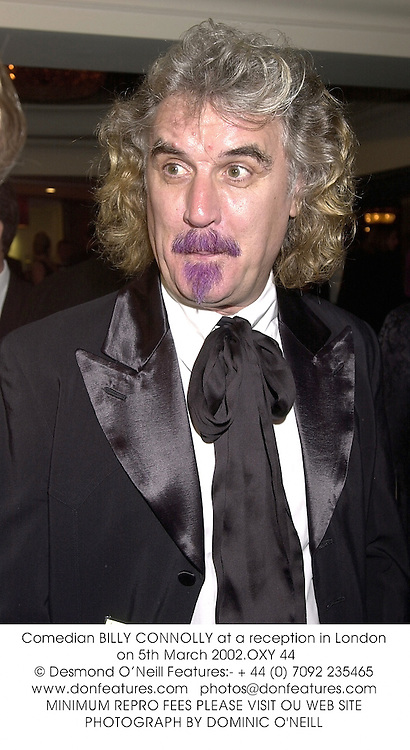 Comedian BILLY CONNOLLY at a reception in London on 5th March 2002.OXY 44