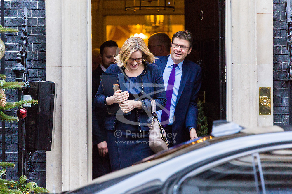 London, December 18 2017. Home Secretary Amber Rudd and Secretary of State for Business, Energy and Industrial Strategy Greg Clark leave 10 Downing Street following a meeting of Prime Minister Theresa May's 'Brexit Cabinet'. © Paul Davey