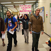 Students at Seattle Central Community College march through the school's hallways as students from area high schools and colleges walked out of classes and join protesters at the Occupy Seattle protest at Westlake Park on Wednesday, October 11, 2011 in Seattle. The protest at Westlake is entering its second week. (Joshua Trujillo, seattlepi.com)