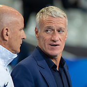 PARIS, FRANCE - September 10:  Didier Deschamps head coach of France and his assistant Guy Stephan during the France V Andorra, UEFA European Championship 2020 Qualifying match at Stade de France on September 10th 2019 in Paris, France (Photo by Tim Clayton/Corbis via Getty Images)