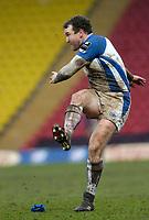 Photo: Leigh Quinnell.<br /> Saracens v Bath Rugby. Guinness Premiership. 12/02/2006. Baths Chris Malone takes a kick.