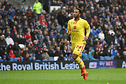 Milton Keynes Dons striker Nicky Maynard (28) runs towards the goal after scoring during the Sky Bet Championship match between Brighton and Hove Albion and Milton Keynes Dons at the American Express Community Stadium, Brighton and Hove, England on 7 November 2015. Photo by Geoff Penn.