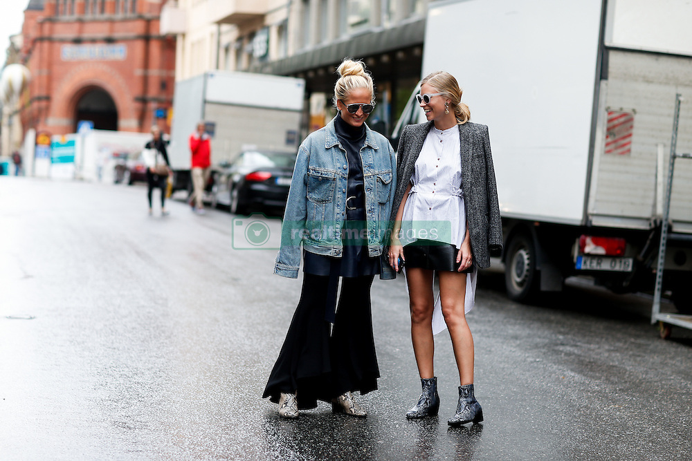Street style, Nathalie Helgerud and Tine Andrea arriving at Busnel Spring Summer 2017 show held at Stockholms Auktionsverk, Nybrogatan 32, in Stockholm, Sweden, on August 29, 2016. Photo by Marie-Paola Bertrand-Hillion/ABACAPRESS.COM