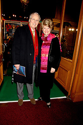 TV presenter NICHOLAS PARSONS and his wife ANNE  at the gala night of Varekai by Cirque du Soleil at The Royal Albert Hall, London on 8th January 2008.<br />
