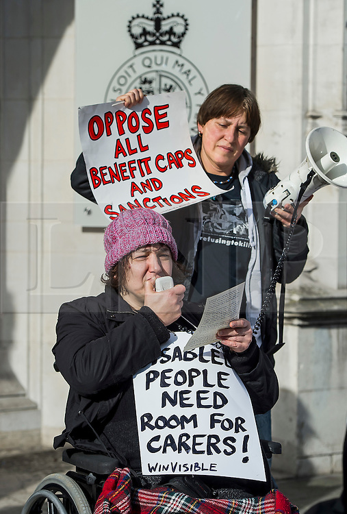 © Licensed to London News Pictures. 29/02/2016. London, UK.  Campaigner CLAIRE GASMAN (front) joins other Campaigner outside the Supreme Court in London where Justices are due to hear appeals against the under occupancy subsidy, also known as the bedroom tax.  Campaigners believe the reduction in benefits for people in a housing association property that has one or more spare bedrooms, is having a devastating impact on vulnerable people.  Photo credit: Ben Cawthra/LNP