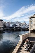 Switzerland, Zurich: lovers along Limmat river