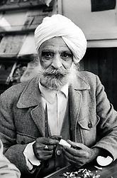Portrait of an elderly man, Indian Community Centre, Nottingham, UK 1991