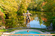 Old Westbury, New York, U.S. October 19, 2019. Charlie Chaplin, a bronze resin sculpture of the English comic actor climbing a ladder suspended over a reflecting pool overlooking a pond on the Old Westbury Gardens estate, is one of the Polish sculptor Jerzy Kędziora (Jotka) Balance in Nature outdoor sculptures seen during a tour during Closing Reception for the exhibit.