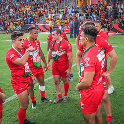 Handout photo dated 28/10/17 provided by NRL Photos of Wales players appear dejected after defeat to Papua New Guinea in the Rugby League World Cup, Pool C match at the Oil Search National Football Stadium, Port Moresby.