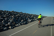 Bike path along the Los Angeles River, Willow Street, Long Beach, Califortnia, USA,
