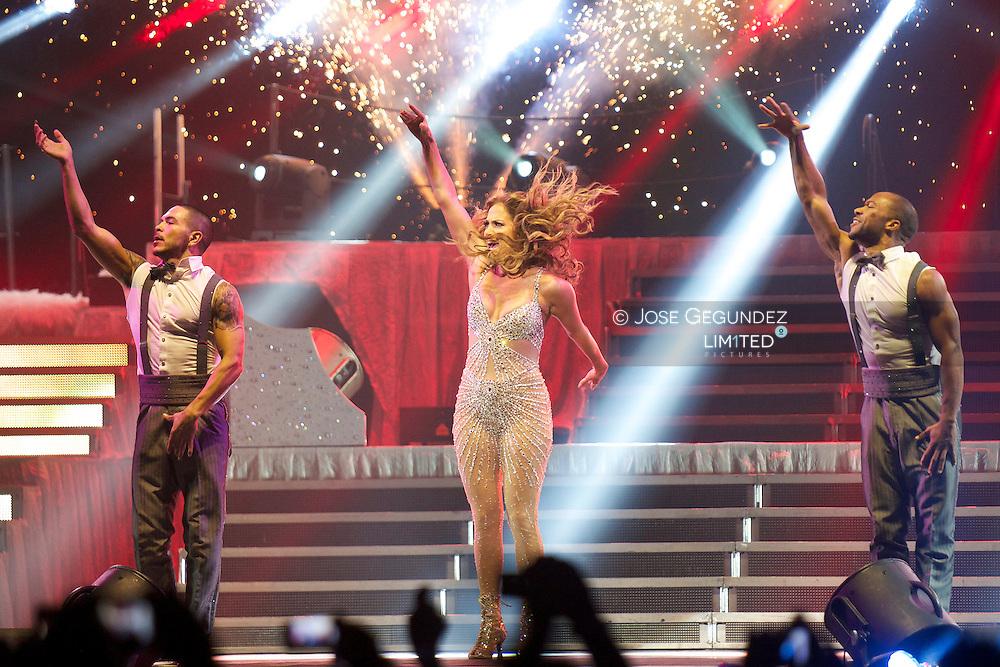 Singer Jennifer Lopez performs on stage 'Dance Again World Tour' at Palacio de los Deportes in Madrid, Spain