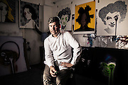Portrait of Graffiti  artist Charley Uzzell-Edwards AKA Pure Evil at work in his studio  in London on Thursday July 10, 2014.<br /> <br /> Photos by Ki Price