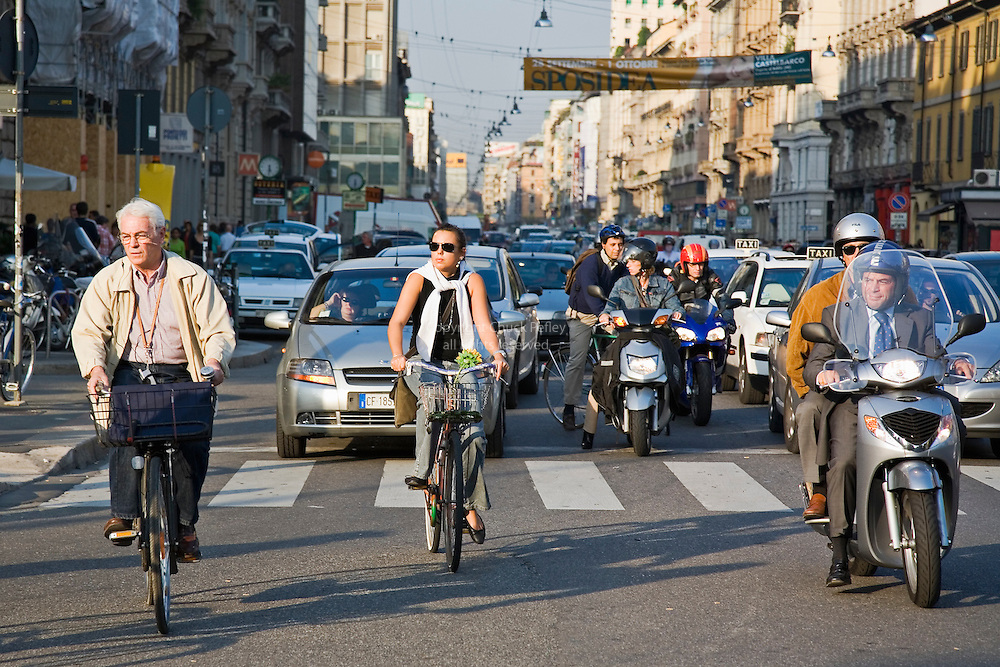 Rush hour traffic congestion, Milan, Italy<br />
