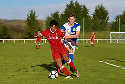 BLACKBURN, ENGLAND - Saturday, January 6, 2018: Liverpool's Yasser Larouci and Blackburn Rovers' Ben Paton during an Under-18 FA Premier League match between Blackburn Rovers FC and Liverpool FC at Brockhall Village Training Ground. (Pic by David Rawcliffe/Propaganda)