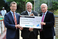 Jonathan Aves Foundation Director, Hertfordshire Community Foundation, Ron Overton, ReachOut Plus Director and Gerald Corbett, Britvic Chairman. ReachOut Plus receive a cheque for £2,500 at The Boat Base is in Red Lion Lane, Nash Mills, Hemel Hempstead