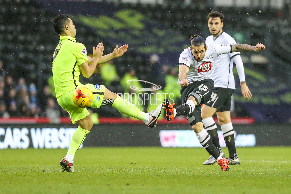 Derby County's Bradley Johnson shoots at goal during the Sky Bet Championship match between Derby County and Brighton and Hove Albion at the iPro Stadium, Derby, England on 12 December 2015. Photo by Shane Healey.