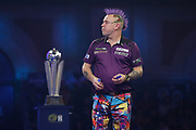 Peter Wright (Scotland) during his match with Michael Van Gerwen (Netherlands) (not in picture) in the final of the PDC William Hill World Darts Championship at Alexandra Palace, London, United Kingdom on 1 January 2020.
