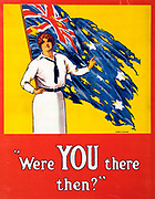World War I 1914-1918:  'Were YOU there then?' Poster, 1916.  Woman stands in front of tattered  Australian flag asking the question. Battle of Fromelles, Western Front, France, 19-20 July 1915, Australia suffered 5,533 casualties.