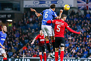 Connor Goldson of Rangers & Kirk Broadfoot of Kilmarnock challenge for a header during the Ladbrokes Scottish Premiership match between Rangers and Kilmarnock at Ibrox, Glasgow, Scotland on 31 October 2018.
