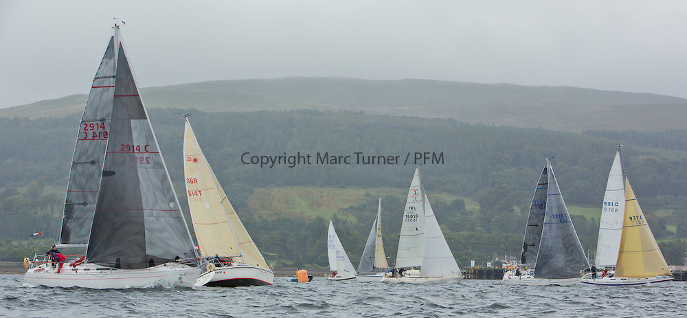 Caledonia MacBrayne Largs Regatta Week 2016<br /> <br /> 2 handed race - Class 3 start with Cool Bandit<br /> <br /> Credit Marc Turner / PFM Pictures.co.uk