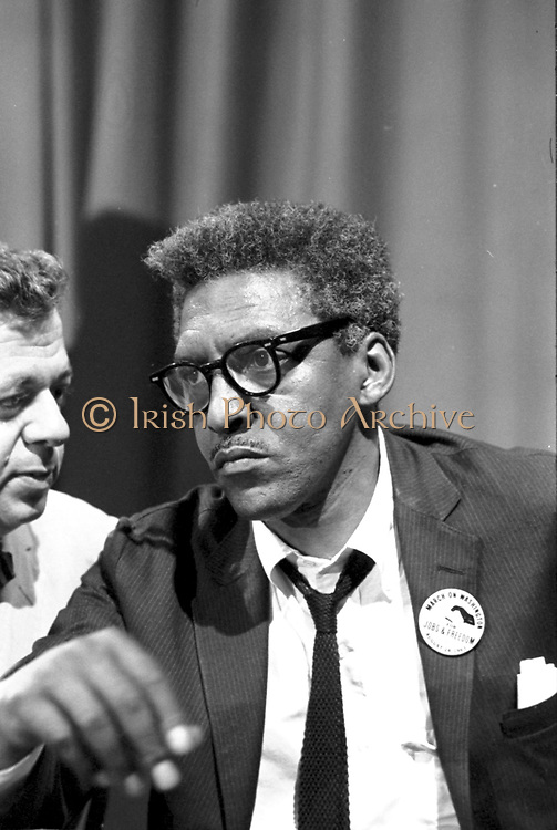 Bayard Rustin (1912-1987), American civil rights activist. Rustin in the Statler Hotel at a news briefing on the Civil Rights March on Washington, DC, USA, 27 August 1963. Photographer: Warren K  Leffler.