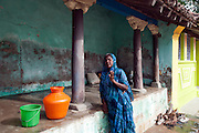 Woman in conversation - home in Nagapattinam.