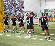 Players warm up  -  Dundee FC pre-season testing at Manhattan Works, Dundee<br /> <br />  - &copy; David Young - www.davidyoungphoto.co.uk - email: davidyoungphoto@gmail.com