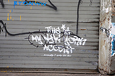 OCT 02 2013 Banksy graffiti art in New York City