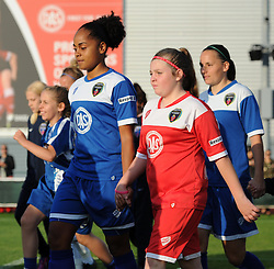 Jade Boho-Sayo of Bristol Academy Women and her mascot walk on to the pitch at Stoke Gifford Stadium - Mandatory by-line: Paul Knight/JMP - Mobile: 07966 386802 - 05/09/2015 -  FOOTBALL - Stoke Gifford Stadium - Bristol, England -  Bristol Academy Women v Birmingham City Ladies FC - FA Women's Super League