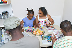 Family sitting around kitchen table,