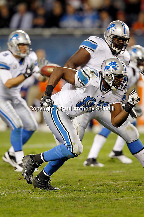 Detroit Lions tight end Brandon Pettigrew (87) goes out for a pass during the NFL week 10 football game against the Chicago Bears on Sunday, November 13, 2011 in Chicago, Illinois. The Bears won the game 37-13. ©Paul Anthony Spinelli