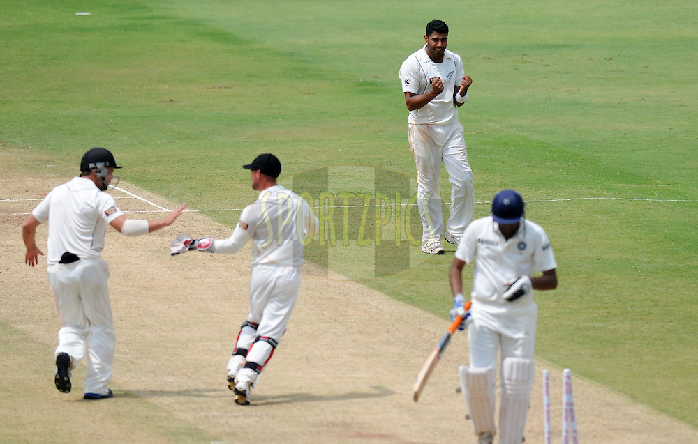 Jiten Patel of New Zealand celebrate the wicket of Ravichandran Ashwin of India during day two of the first test match between India and New Zealand held at The Rajiv Gandhi International Stadium in Hyderabad, India on the 24th August 2012..Photo by: Pal Pillai/BCCI/SPORTZPICS