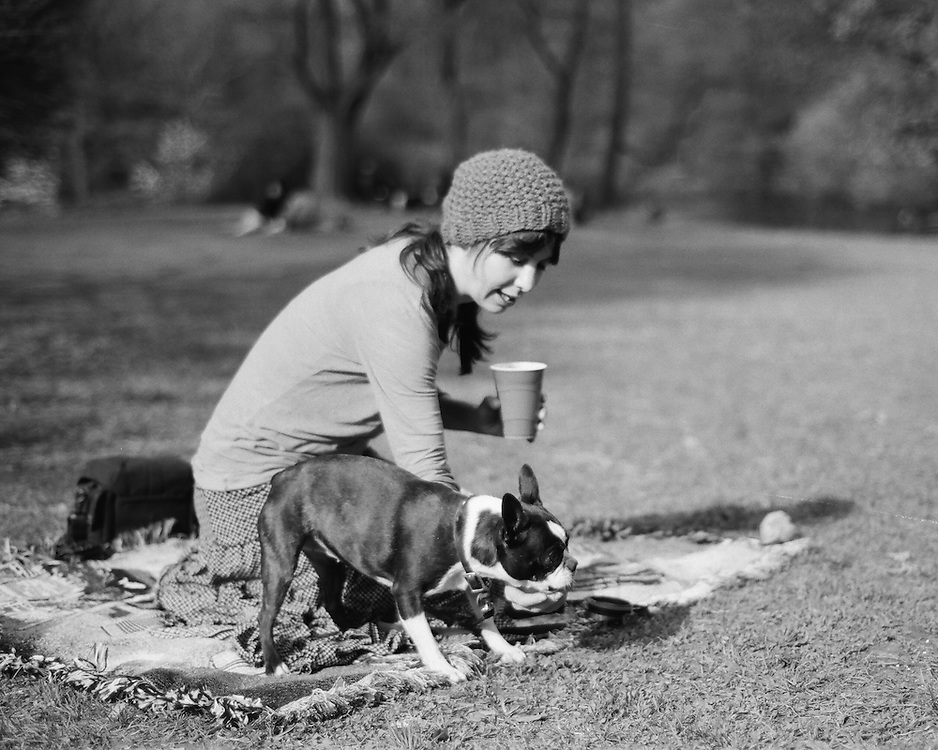 Liz Piccoli & her Boston Terrier Bebe enjoying a beautiful Springtime afternoon in NYC