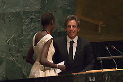 September 16, 2016 - New York, NY, United States - Ben Stiller takes steps to the podium in General Assembly Hall. Three days before the opening of the United Nations high-level Summit on Addressing Large Movements of Migrants and Refugees (September 19), Actor Ben Stiller and former refugee celebrities presented a petition from the #WithRefugees campaign to the UN.  On behalf of the UN, Secretary-General Ban Ki-moon and UN High Commissioner for Refugees Filippo Grandi participated in the event. (Credit Image: © Albin Lohr-Jones/Pacific Press via ZUMA Wire)