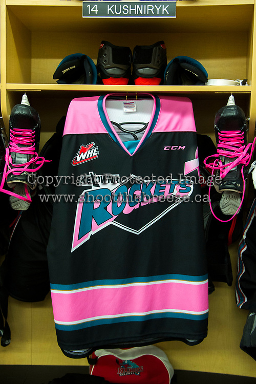 KELOWNA, CANADA - OCTOBER 21: Kelowna Rockets' Canadian Cancer fundraiser night on October 21, 2017 at Prospera Place in Kelowna, British Columbia, Canada.  (Photo by Marissa Baecker/Shoot the Breeze)  *** Local Caption ***
