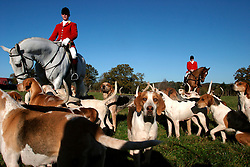 UK ENGLAND SURREY TILFORD 13NOV04 - A hunting party on horseback is surrounded by hounds as they prepare for a foxhunt near the village of Tilford in southern Surrey. Foxhunting in rural Surrey with the Surrey Hunters Union, founded in 1798. ....jre/Photo by Jiri Rezac ....© Jiri Rezac 2004....Contact: +44 (0) 7050 110 417..Mobile:  +44 (0) 7801 337 683..Office:  +44 (0) 20 8968 9635....Email:   jiri@jirirezac.com..Web:    www.jirirezac.com....© All images Jiri Rezac 2004 - All rights reserved.
