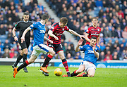 7th April 2018, Ibrox Stadium, Glasgow, Scotland; Scottish Premier League football, Rangers versus Dundee; Jamie Murphy and Graham Dorrans of Rangers combine to stop Craig Wighton of Dundee