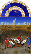 'The Très Riches Heures du Duc de Berry Is a French Gothic illuminated manuscript. The Très Riches Heures is a prayer book created for John, Duke of Berry, by the Limbourg brothers between 1412 and 1416. The book was completed by Jean Colombe between 1485 and 1489. The manuscript is held at the Musée Condé, Chantilly, France. this folio (December) depicts a hunting scene. Dogs dismember a boar. The scene takes place in the middle of a forest while in the distance, is the castle of Vincennes.'