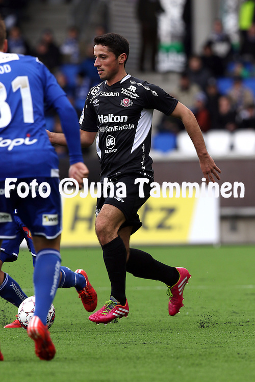 19.4.2015, Sonera stadion, Helsinki.<br /> Veikkausliiga 2015.<br /> Helsingin Jalkapalloklubi - FC Lahti..<br /> Xhevdet Gela - FC Lahti