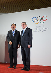 LAUSANNE, Jan. 20, 2018  International Olympic Committee (IOC) President Thomas Bach (R) poses with Lee Hee-beom (L), the president of the Olympic Committee of South Korea in Lausanne, Switzerland, on Jan. 20, 2018. (Credit Image: © Xu Jinquan/Xinhua via ZUMA Wire)