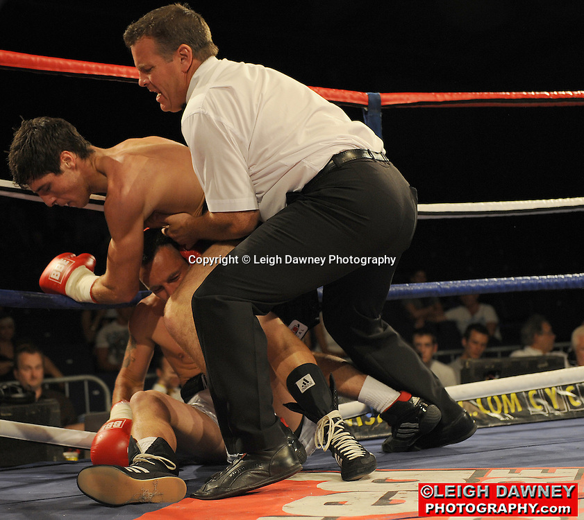 Tommy Coyle (black shorts) defeats Daniel Thorpe at the Doncaster Dome, Doncaster on 2nd July 2010. Frank Maloney Promotions. Photo credit: © Leigh Dawney