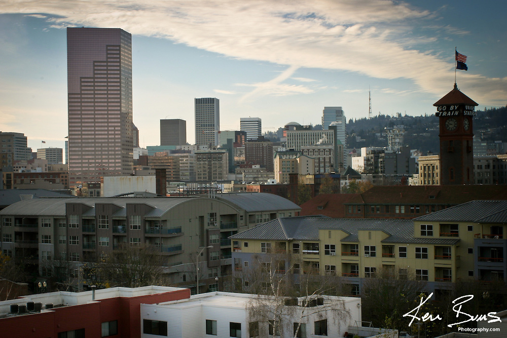 Looking North from the Pearl District of the City's skyline. Portland, Oregon
