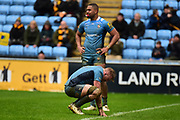 The London Irish players look dejected at the end of the Aviva Premiership match between Wasps and London Irish at the Ricoh Arena, Coventry, England on 4 March 2018. Picture by Dennis Goodwin.