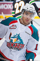KELOWNA, CANADA - JANUARY 26: Tyrell Goulbourne #12 of the Kelowna Rockets skates on the ice during warm up against the Prince Albert Raiders at the Kelowna Rockets on January 26, 2013 at Prospera Place in Kelowna, British Columbia, Canada (Photo by Marissa Baecker/Shoot the Breeze) *** Local Caption ***