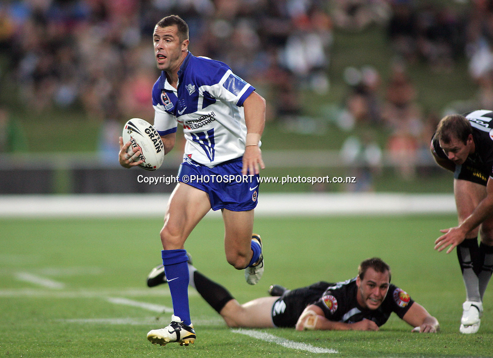 Bulldogs fullback Luke Patten makes a break during the preseason NRL match between the Vodafone Warriors and Bulldogs held at Albany Stadium, Auckland, on Saturday 3 March 2007. Photo: Renee McKay/PHOTOSPORT