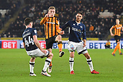 Millwall FC player Ben Marshall (44) , Hull City forward Jarrod Bowen (20) and Millwall FC forward Lee Gregory (9) during the EFL Sky Bet Championship match between Hull City and Millwall at the KCOM Stadium, Kingston upon Hull, England on 6 March 2018. Picture by Ian Lyall.