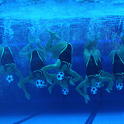 The team from Canada competes during the Synchronized Swimming team technical routine at the Aquatics Centre, Olympic Park, during the London 2012 Olympic games. London, UK. 9th August 2012. Photo Tim Clayton
