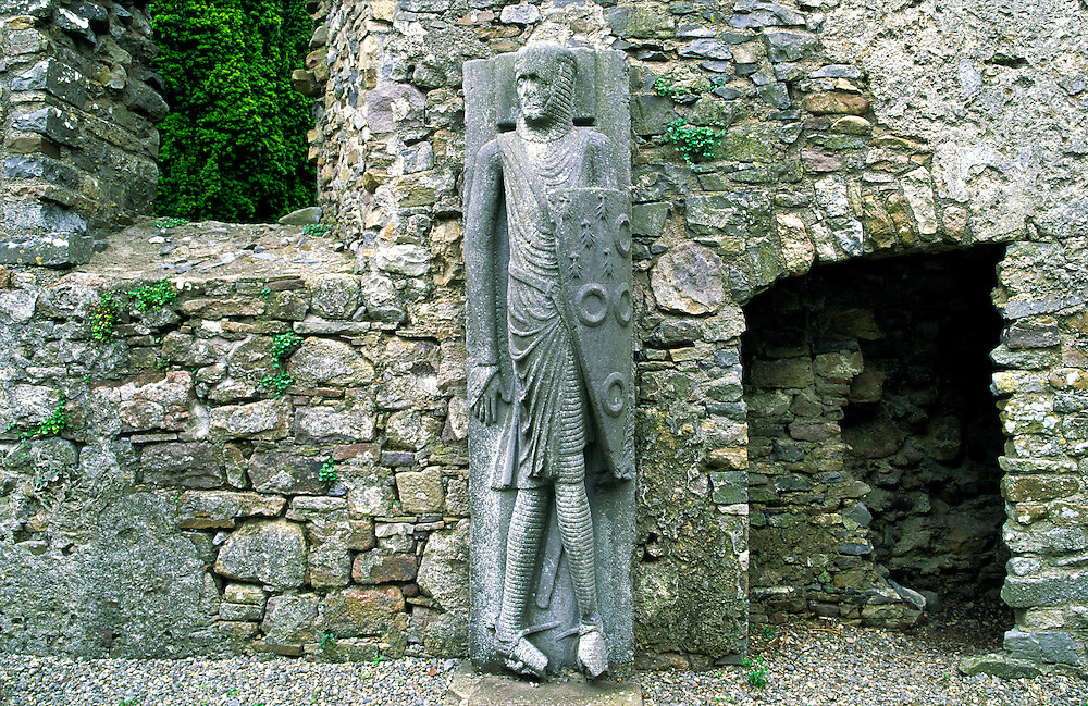 Large 13 C stone carving of knight known as the Cantwell Knight or Cantwell Effigy in Kilfane Church, County Kilkenny, Ireland.
